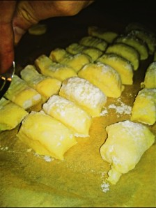This was what the Gnocci looked like after the flour and egg was mixed into it and then gently rolled and using a  knife chopped into thin square pieces.