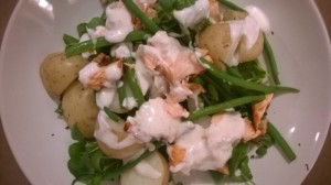 roasted salmon salad with green beans potatoes and sour cream dressing (2)