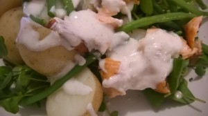 roasted salmon salad with green beans potatoes and sour cream dressing (3)
