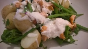 roasted salmon salad with green beans potatoes and sour cream dressing (5)