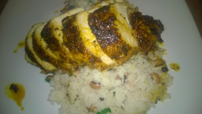 Pan Roasted Jerk Chicken with Rice and Black Eyed Beans….
