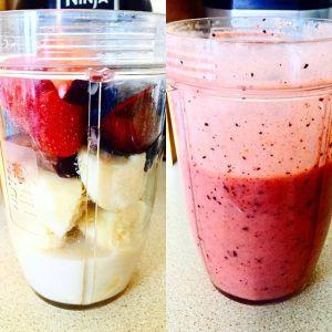 Banana, Plum, strawberries and oat milk!